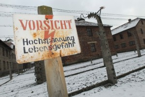 Getty Images photo shows iconic sign at Auschwitz main camp
