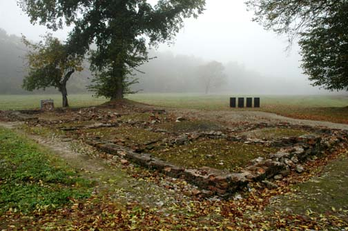 "The reconstructed ruins of the ""little white house"" where Jews were gassed at Auschwitz-Birkenau"