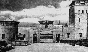 Old photo of the famous gate into the Mautahausen camp
