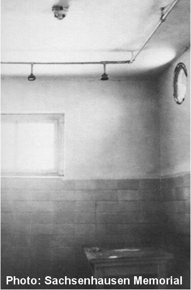 Old photo of the Sachsenhausen gas chamber which was equipped with shower heads