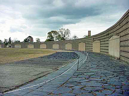 Monument at Sachsenhausen represents the barracks