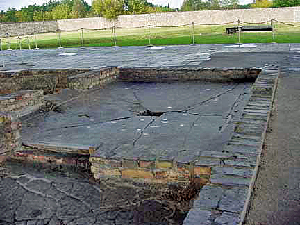 Floor of the Sachsenhausen gas chamber which has been torn down