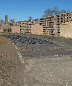 The location of the shoe testing track at Sachsenhausen