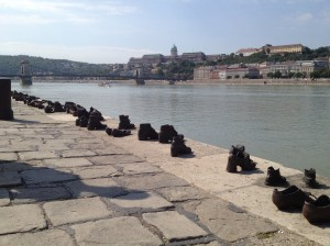 Holocaust memorial on the banks of the Danube river in Hungary