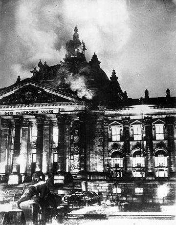 The Reichstag building on fire on Feb. 27, 1933