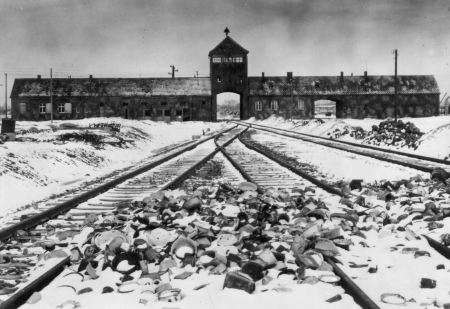 Photo of the alleged entrance into Auschwitz-Birkenau