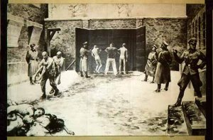 """The """"Black Wall"""" at the Auschwitz main camp where convicted crimals were execute after a trial"""
