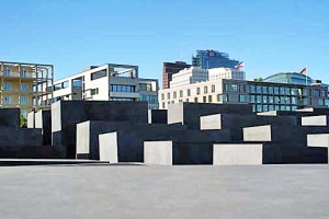 Five-acre Jewish Memorial in the foreground hides the Potsdammer Platz in the background