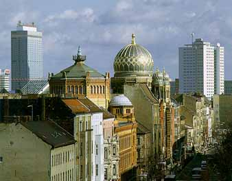 Berlin has been rebuilt with modern buildings and the Jewish synagogue has been restored