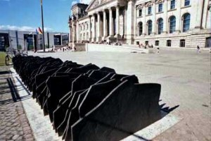 Slabs of black marble in front of the Reichstag building in Germany