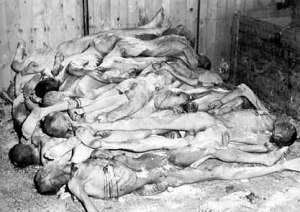 Dead bodies in a shed at Ohrdruf labor camp