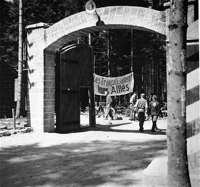 Survivors of Ebensee sub-camp of Mauthausen greet their liberators