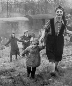 Women and children who were liberated from a death train