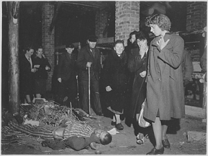 German civilians in the town of Ohrdruf were forced to view dead bodies in the barracks at Ohrdruf