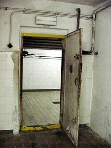 One of the two doors into the Mauthausen gas chamber