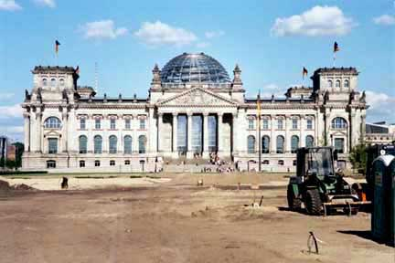 Reconstruction of the Reichstag building was still going on in 2002