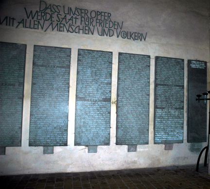 Names on a German war memorial