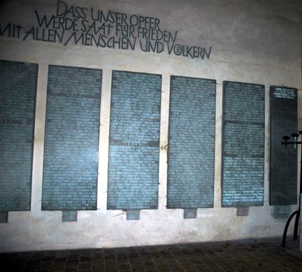 Names on a German war memorial