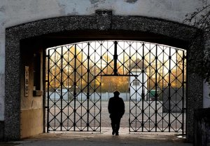 """The opening where the iconic """"Arbeit Macht Frei"""" gate used to be"""