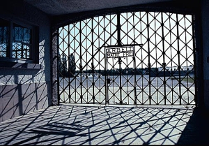 Gate into Dachau camp