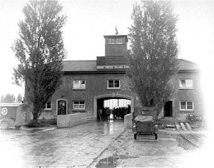 Dachau gatehouse in 1945 after the camp was liberated