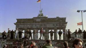 Germans celebrating the wall coming down 25 years ago
