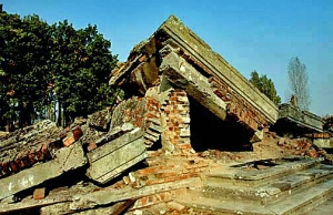 The ruins of Krema III, one of the four gas chambers at Auschwitz-Birkenau
