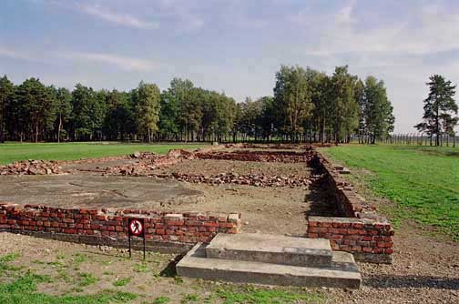The reconstructed ruins of Krema IV at Auschwitz-Birkenau