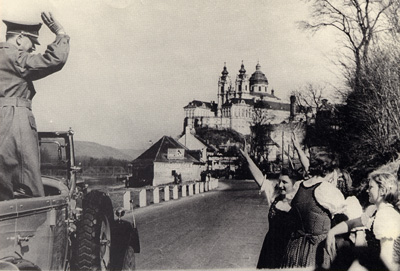 Hitler passing through the town of Melk in Austria