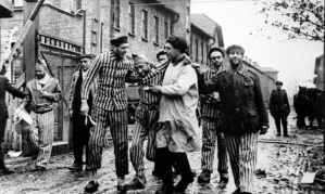 Photo, now owned by Getty Images, show Russian troops liberating the prisoners in the main Auschwitz camp
