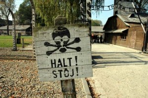 Warning sign at the entrance to the Auschwitz main camp