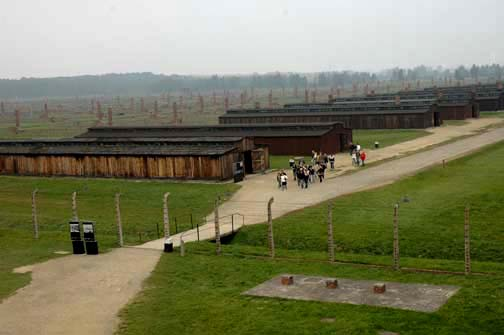The Quarantine camp at Auschwitz-Birkeanu camp near the entrance