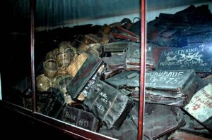 My 1998 photo of the suitcases displayed at the Auschwitz main camp