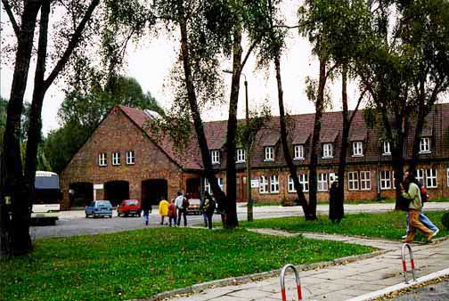 The Auschwitz Visitors Center, the first stop for tourists