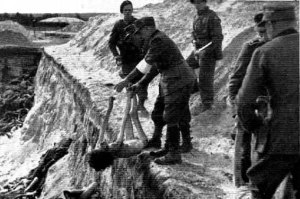 SS men who stayed behind to help the British were forced to handle dead bodies without gloves