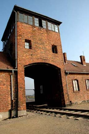 """The """"gate of death"""" (the gatehouse into the Birkenau camp"""