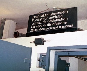 My 2007 photo of sign above a disinfection chamber at Dachau