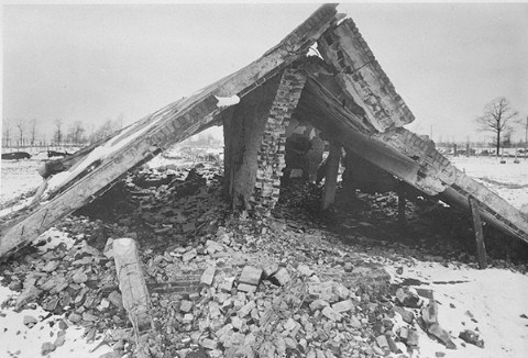 Photo of the ruins of a gas chamber, allegely found by the Soviet liberators in January 1945
