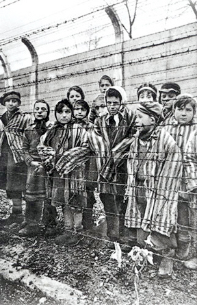 Another photo of child survivors with one of the Kor twins on the far right