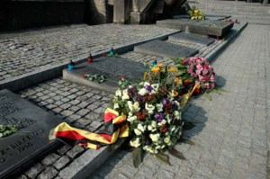 Flowers purchase in a flower shop at Auschwitz and placed on the monument at Birkenau