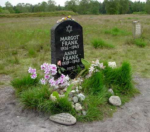 Honorary tombstone at Bergen-Belsen for Anne Frank