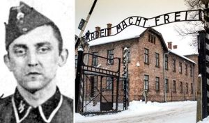 "Former SS man who worked at Auschwitz main camp which has the sign ""Arbeit Macht Frei"""