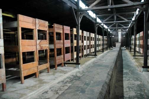 Quarantine barracks near the entance to Aschwitz Birkeanau camp