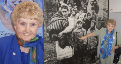 Eva Moses Kor as she looks today and as she points to herself in an old photo taken in February 1945 marching out of Auschwitz-Bkirenau