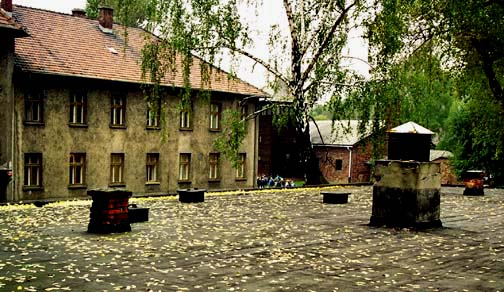 My 1998 photo shows the  SS hospital in the background with the roof of the gas chamber in the foreground