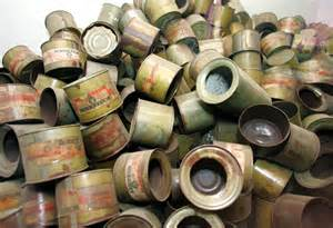 Empty cans of Zyklon-B gas used to kill lice