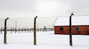 Auschwitz in winter. This might be part of an disinfection building
