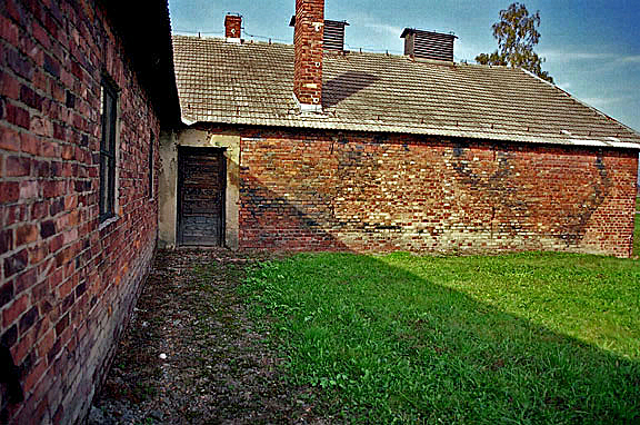 Delousing building at Auschwitz-Birkeanau shows blue stains from use of Zyklon-B