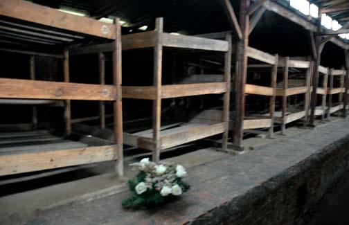 Barracks in the quarantine camp at Auschwitz-Birkenau