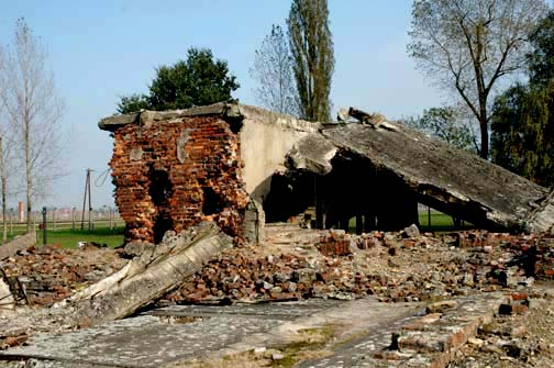 My 2005 photo of the Ruins of Krema II at Auschwitz-Birkenau